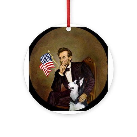 Lincoln & his Siberian Husky Ornament (Round)