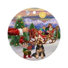 Santa's Treat for his Silky Ornament (Round)