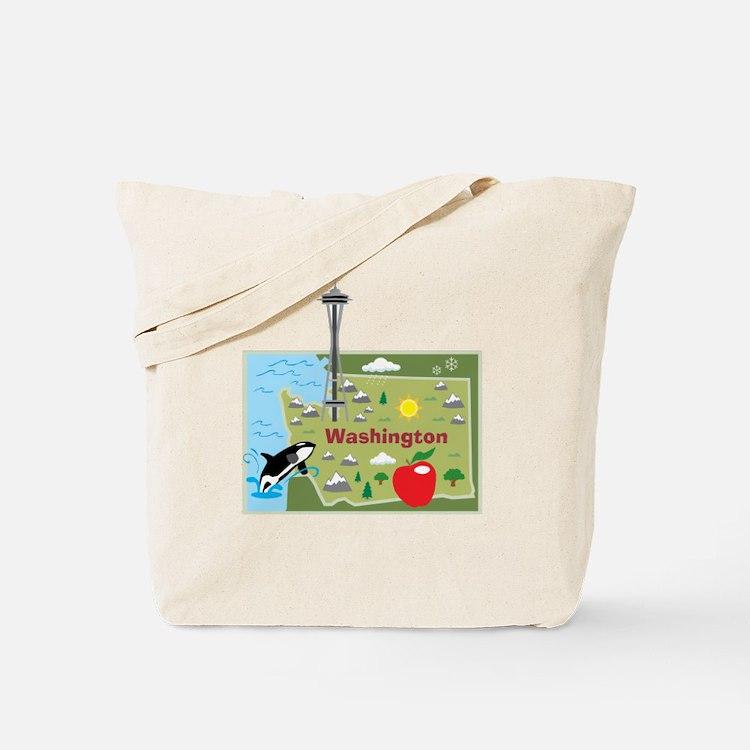 Washington Map Tote Bag