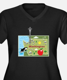 Washington Map Women's Plus Size V-Neck Dark T-Shi