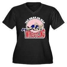 Tap Snap or Nap Wrestling Women's Plus Size V-Neck