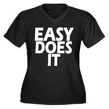 Easy Does It Women's Plus Size V-Neck Dark T-Shirt