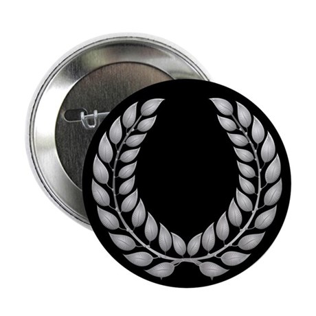 """Black with Silver laurel 2.25"""" Button (100 pack)"""