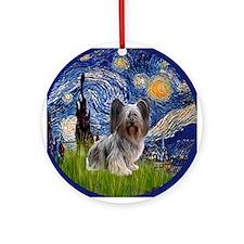 Starry Night Skye Terrier Ornament (Round)