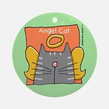 Gray Tabby Cat Angel Ornament (Round)