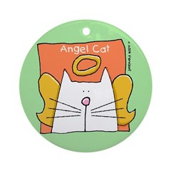 White Cat Angel Christmas Ornament (Round)