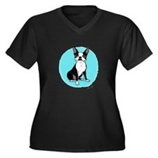 Unique Boston terrier rescue Women's Plus Size V-Neck Dark T-Shirt
