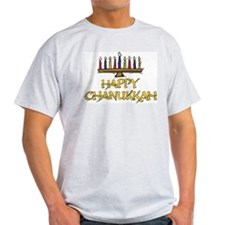 Happy Chanukkah Ash Grey T-Shirt