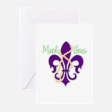 Mardi Gras Fleur De Lis Greeting Cards (Pk of 10)