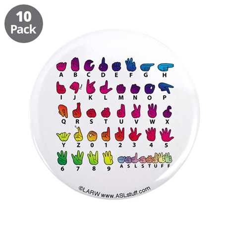"RBW Fingerspelled ABC 3.5"" Button (10 pack)"