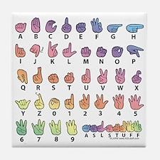 PAS Fingerspelled ABC Tile Coaster