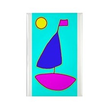 Sailing under the Moon Sailboat Rectangle Magnet
