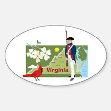 Virginia Map Oval Decal