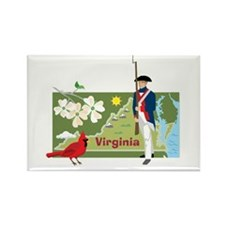 Virginia Map Rectangle Magnet