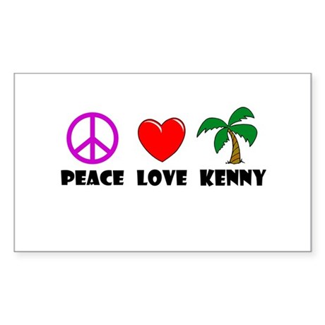 Peace Love Kenny Rectangle Sticker