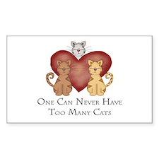 Too Many Cats Rectangle Sticker 50 pk)