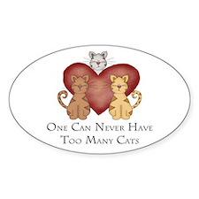Too Many Cats Oval Sticker (10 pk)