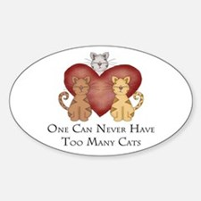 Too Many Cats Oval Decal