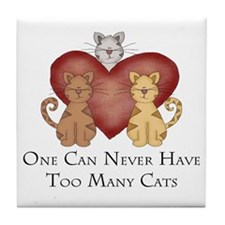Too Many Cats Tile Coaster