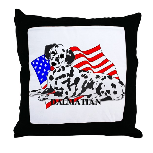 Dalmatian USA Throw Pillow by casperncaboodle