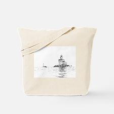 Christmas Toledo Harbor Light & Ship Tote Bag