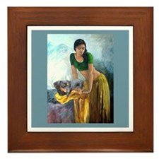 Doxie Lady Framed Tile