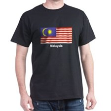 Malaysia Malaysian Flag (Front) Black T-Shirt