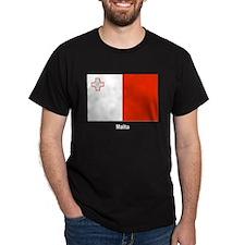 Malta Maltese Flag (Front) Black T-Shirt