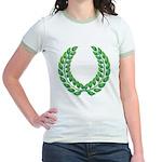 Green laurel on white Jr. Ringer T-Shirt