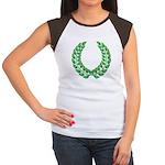 Green laurel on white Women's Cap Sleeve T-Shirt