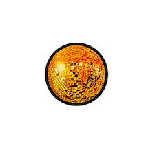 Orange Disco Mirror Ball Mini Button