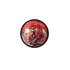 Red Disco Mirror Ball Mini Button