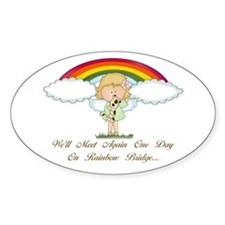 Rainbow Bridge (dog) Oval Decal