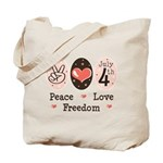 Peace Love Freedom July 4th Tote Bag