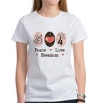 Peace Love Freedom July 4th Women's T-Shirt