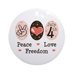 Peace Love Freedom July 4th Ornament (Round)