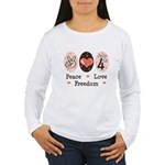 Peace Love Freedom July 4th Women's Long Sleeve T-