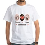 Peace Love Freedom July 4th White T-Shirt
