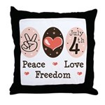 Peace Love Freedom July 4th Throw Pillow