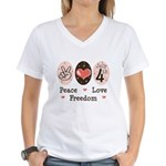 Peace Love Freedom July 4th Women's V-Neck T-Shirt
