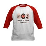 Peace Love Freedom July 4th Kids Baseball Jersey