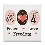 Peace Love Freedom July 4th Tile Coaster