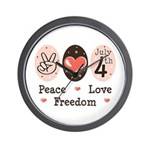Peace Love Freedom July 4th Wall Clock