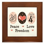 Peace Love Freedom July 4th Framed Tile