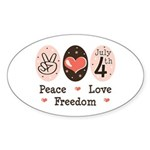 Peace Love Freedom July 4th Oval Sticker (10 pk)