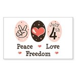 Peace Love Freedom July 4th Rectangle Sticker
