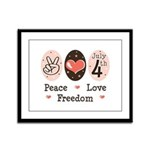 Peace Love Freedom July 4th Framed Panel Print