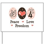 Peace Love Freedom July 4th Yard Sign