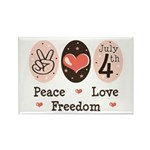 Peace Love Freedom July 4th Rectangle Magnet (100