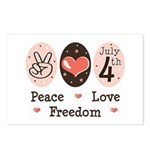 Peace Love Freedom July 4th Postcards (Package of